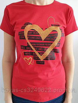 Женская трикотажная футболка , принт : Сердце