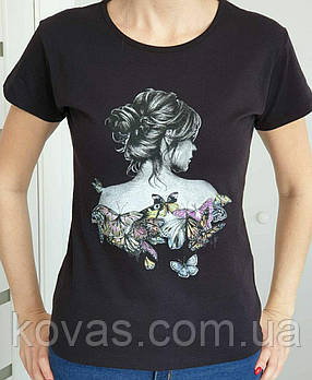 Женская трикотажная футболка , принт : Бабочки