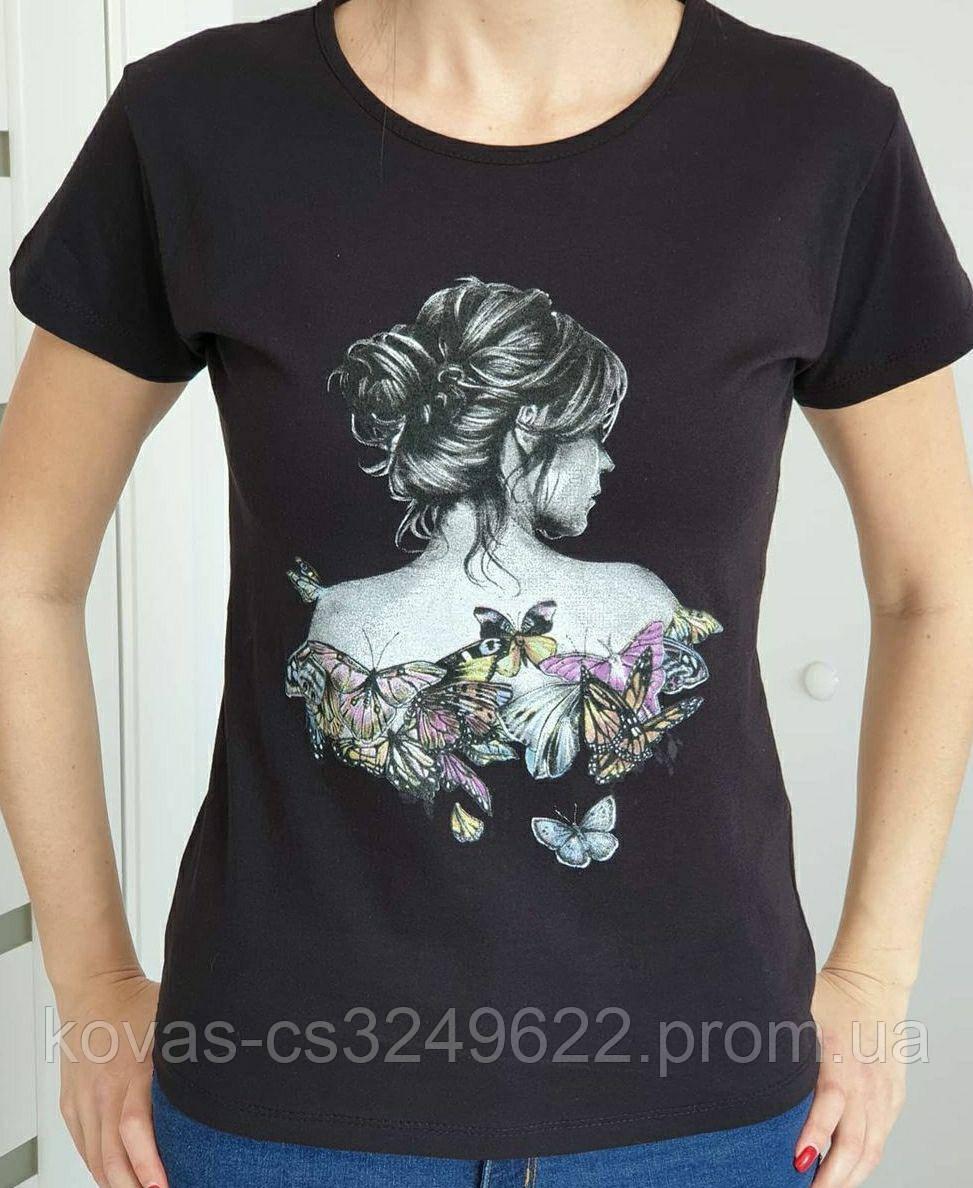 Жіноча трикотажна футболка , принт : Метелики