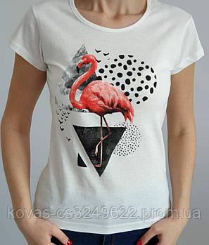 Женская трикотажная футболка , принт : Фламинго