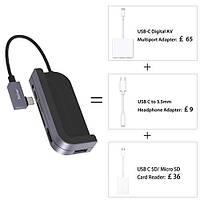 Концентратор Belker USB-C 6in1 (USB 3.0(5Gb/s),USB C,4K HDMI,SD/Micro-SD,3.5 mm Audio) з чохлом