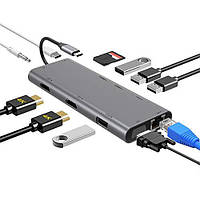 Концентратор FLYLAND RAYROW 12in1 Type-C (2xHDMI, 2xUSB2, 2xUSB3, VGA, PD, RJ45, Audio, SD, MicroSD)