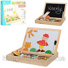 Дитяча розвиваюча дерев'яна доcточка для малювання з фігурками, крейдою і маркером MD 0693