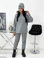 Утеплений спортивний костюм жіночий на флісі з худі і шапкою модний прогулянковий на кожен день арт 1456