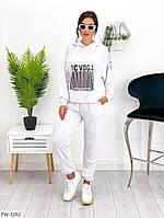 Трикотажний спортивний костюм жіночий повсякденний з модним принтом штрих код арт 704