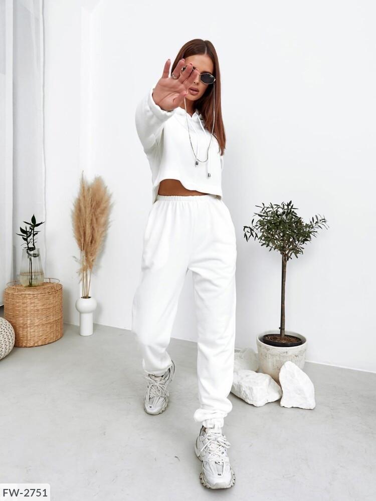 Стильний спортивний костюм жіночий молодіжний з укороченою кофтою худі тканина футер петля арт 7266.1