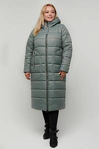 Женское зимнее плащевое пальто больших размеров 48-66