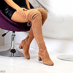 Женственные бежевые песочные замшевые высокие сапоги ботильоны на устойчивом каблуке