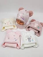 Детские польские зимние вязаные шапки на флисе с завязками и помпоном оптом для девочек, р.42-44, Ambra, фото 1