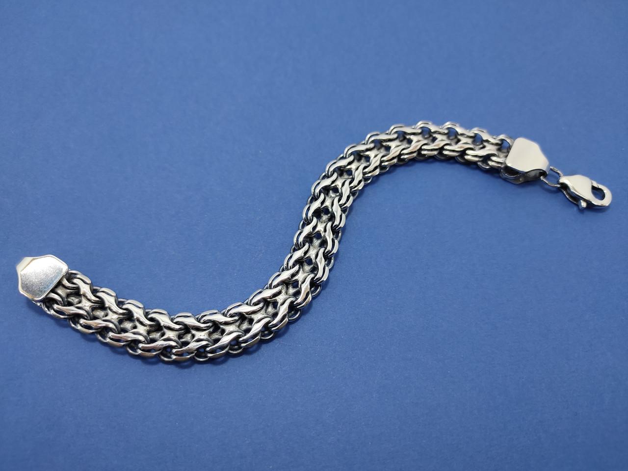 Срібний браслет подвійний струмочок, 19 см., 35 гр.
