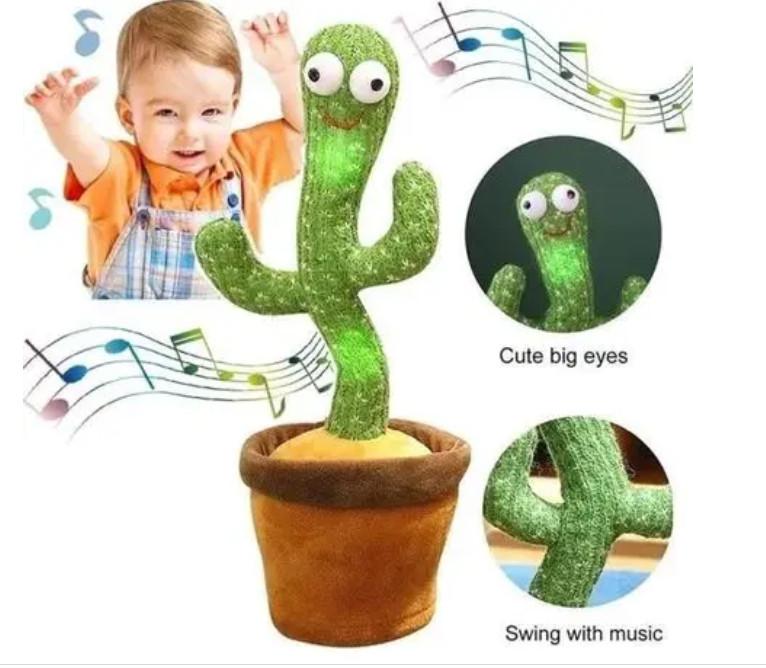 Интерактивная игрушка говорящий танцующий Кактус повторюшка