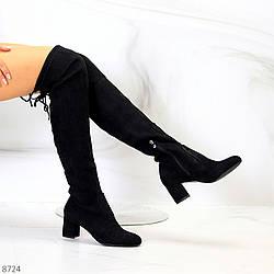 Женственные черные замшевые высокие сапоги ботильоны на устойчивом каблуке