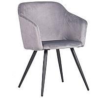 Кресло AMF Lynette black / silver Ткань Monolith серая