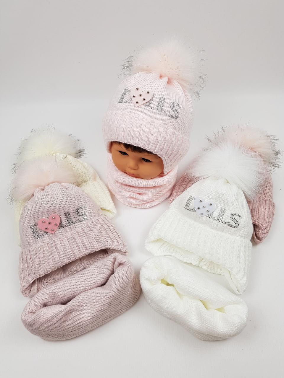 Дитячі польські зимові в'язані шапки на флісі з завязками і помпоном оптом для дівчат, р.46-48, Ambra