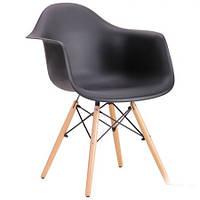 Крісло AMF Salex PL Wood ніжки дерево сидіння чорний пластик