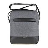 Чоловіча сумка месенджер вертикальна WALLABY поліестер 20х23х8 сіра в 2423сер, фото 2