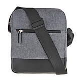 Чоловіча сумка месенджер вертикальна WALLABY поліестер 20х23х8 сіра в 2423сер, фото 4