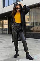 """Модный молодежный женский тренч с капюшоном """"Эшли"""", черный, фото 1"""