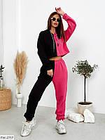 Модний молодіжний спортивний костюм жіночий з укороченою кофтою-худі вільного крою оверсайз арт 7622