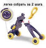 Дитячі ходунки-каталка 2в1 35413 Жирафик музичні з ігровою панеллю фіолетові, фото 4