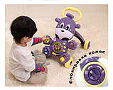Дитячі ходунки-каталка 2в1 35413 Жирафик музичні з ігровою панеллю фіолетові, фото 7