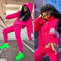 Трендовий жіночий спортивний костюм принт штрих код вільна кофта на блискавці і штани з трехнитки