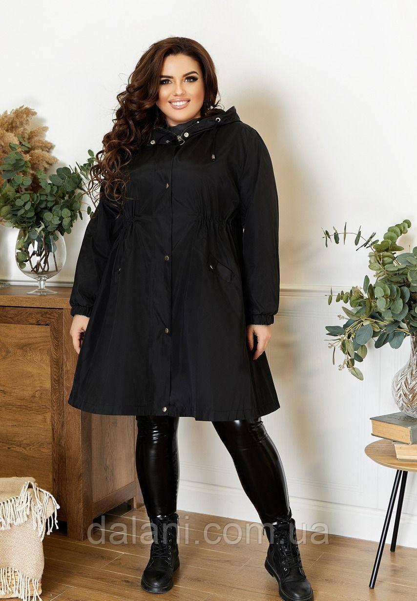Жіночий чорний плащ з капюшоном великі розміри