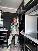 Женская домашняя одежда, рубашка и штаны, абстрактная расцветка