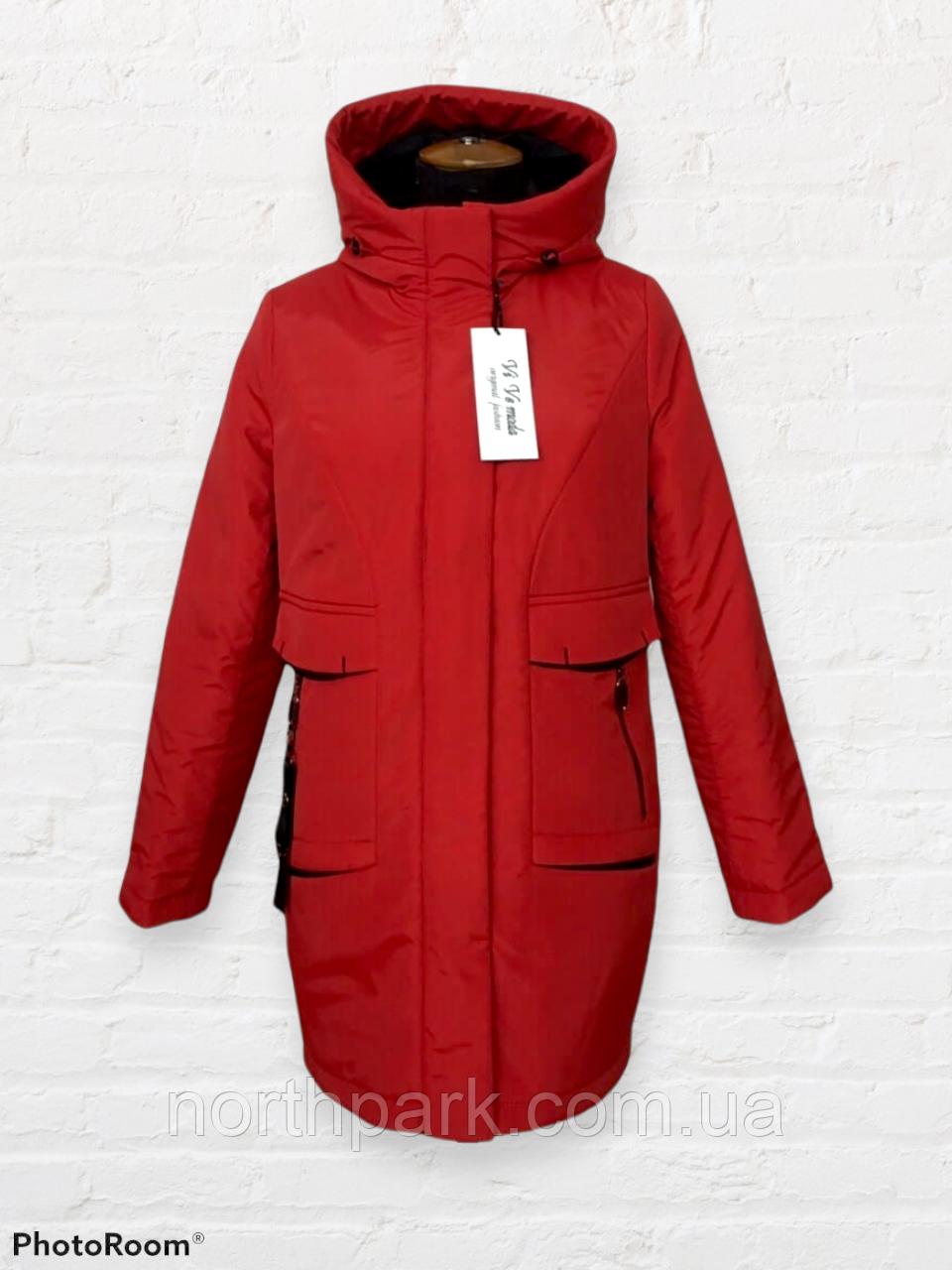 """Жіноча тепла куртка-парка """"Теннессі"""", червона"""