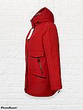 """Жіноча тепла куртка-парка """"Теннессі"""", червона, фото 5"""
