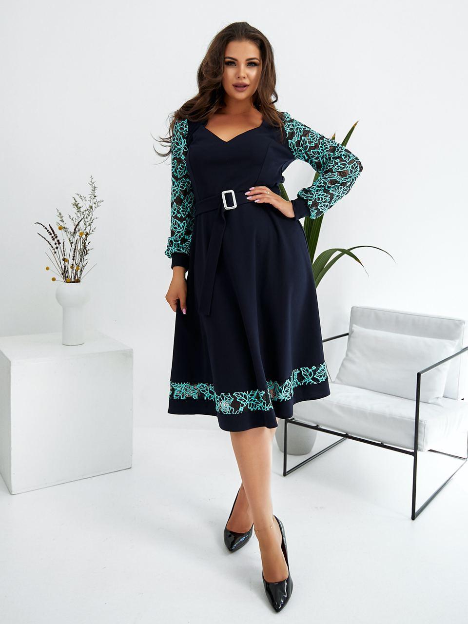 Р. 48-58 Женское нарядное платье миди с поясом Большие размеры