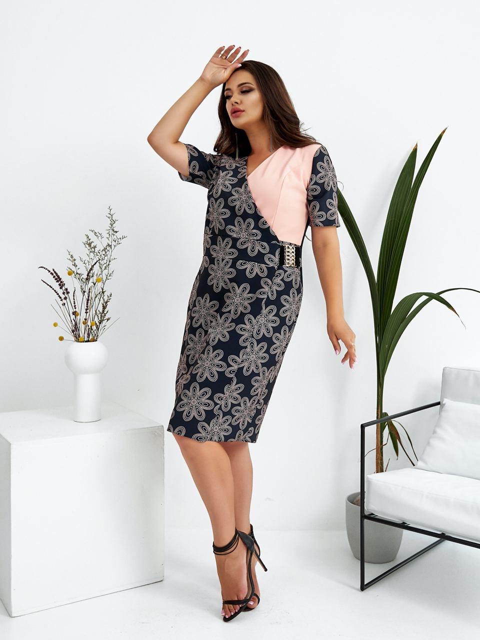 Р. 48-58 Женское нарядное платье миди на запах с коротким рукавом Большие размеры