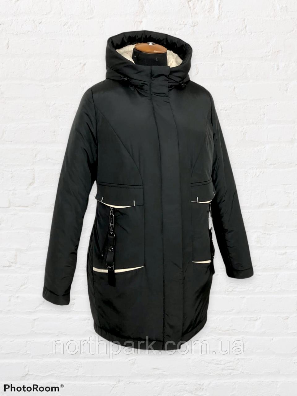 """Жіноча тепла куртка-парка """"Теннессі"""", чорна"""
