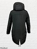 """Жіноча тепла куртка-парка """"Теннессі"""", чорна, фото 4"""