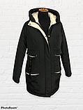 """Жіноча тепла куртка-парка """"Теннессі"""", чорна, фото 3"""