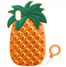 Фигурный силиконовый 3D Чехол-антистресс Pop it Ананас для iPhone XS (5.8) (Оранжевый) 1160105