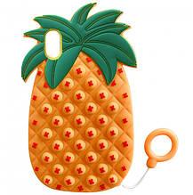 Фигурный силиконовый 3D Чехол-антистресс Pop it Ананас для Apple iPhone XR (6.1) (Оранжевый) 1160107