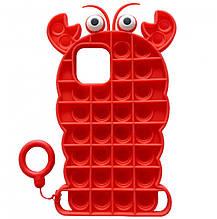 Фигурный силиконовый 3D Чехол-антистресс Pop it Лобстер для Apple iPhone 11 Pro Max (6.5) (Красный) 1160117
