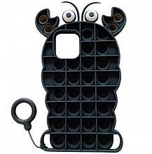 Фигурный силиконовый 3D Чехол-антистресс Pop it Лобстер для iPhone 12 (Черный) 1160124
