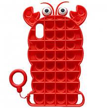 Фигурный силиконовый 3D Чехол-антистресс Pop it Лобстер для iPhone XS (5.8) (Красный) 1160132
