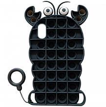 Фігурний силіконовий 3D Чохол-антистрес Pop it Лобстер для iPhone XS (5.8) (Чорний) 1160133