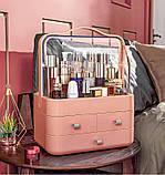 Органайзер для косметики Cosmetic Storage Box, бокс для косметических средств персиковый, фото 2