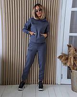 Тёплый женский спортивный костюм с надписями штаны и кофта с капюшоном графит 42-44 46-48 50-52