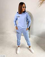 Модний трендовий спортивний костюм жіночий толстовка і штани трехнить петля прінт надписи на осінь арт 345