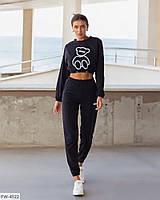 Модний жіночий спортивний костюм двунітка кроп-то і штани з високою посадкою арт 5004