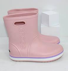 Резиновые сапоги в стиле Crocs для девочки розовые 22-29 рр.