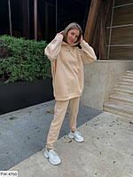 Утеплений спортивний костюм жіночий на флісі з довгим худі вільного крою оверсайз арт 574