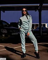 Зручний повсякденний жіночий спортивний костюм теплий трехнитка на флісі світшот і штани арт 55
