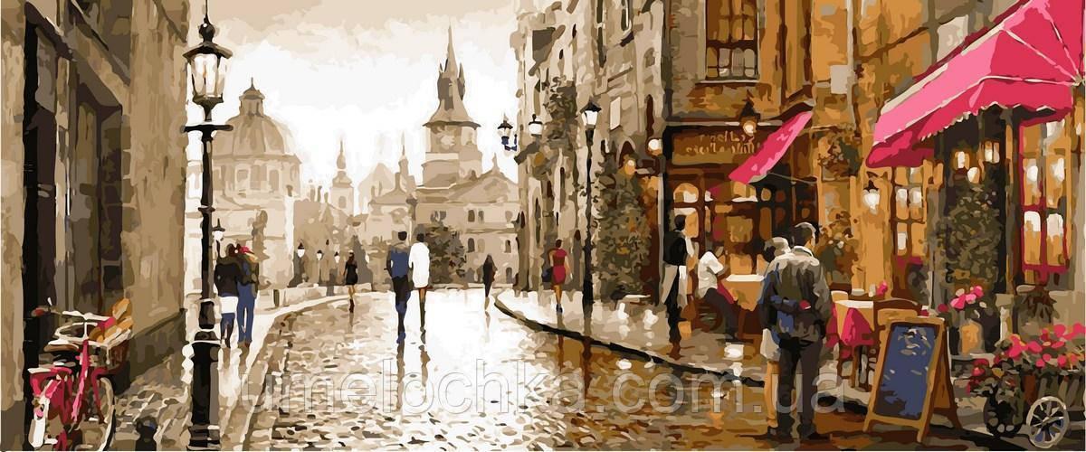 Картина за номерами DIY Babylon Триптих Фарби вечірнього міста (VPT027) 50 х 150 см