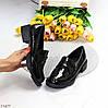 Повсякденні лакові глянцеві чорні жіночі туфлі лофери низький хід, фото 9